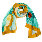 Green Floral with Yellow Trim Print Scarf