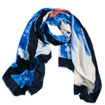 Blue Floral with Navy Trim Fashion Scarf