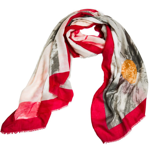 Gray Floral with Red Trim Fashion Scarf