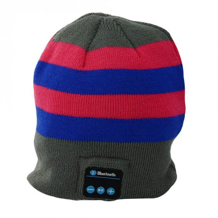 Bluetooth Beanie Hat (Blue/Red Stripe) - Smash Terminator - 1