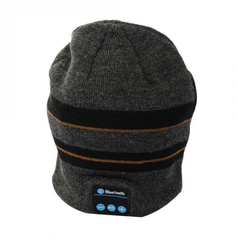 Bluetooth Beanie Hat (Black/Grey Stripe) - Smash Terminator - 1