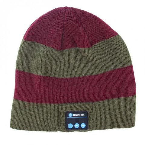 Bluetooth Beanie Hat (Burgundy/Green Stripe) - Smash Terminator