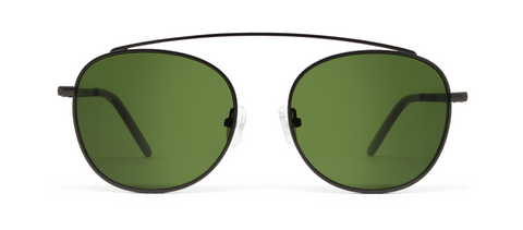 Omega Gun Metal with Green Lenses