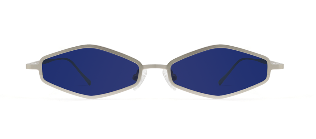 Theta 2.0 Silver with Blue Lenses