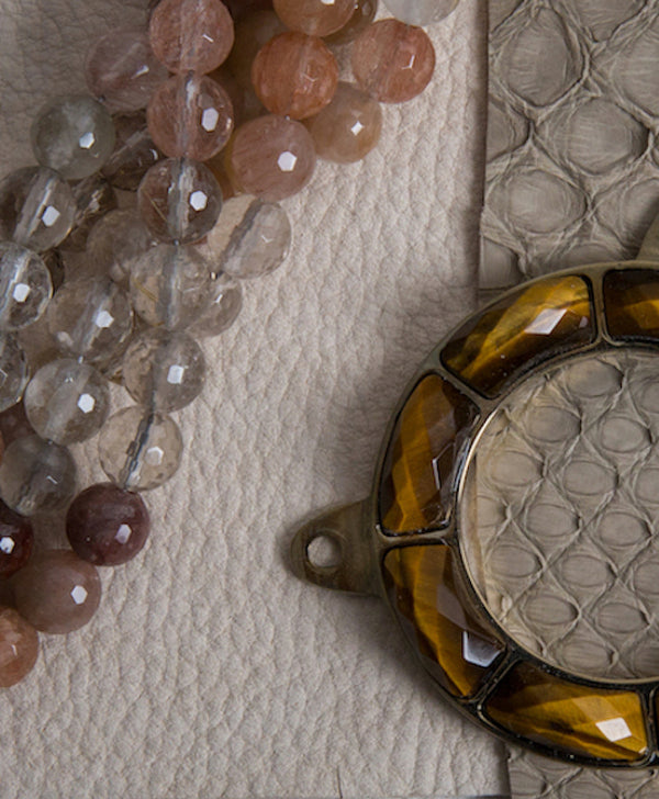 Concierge - At Your Service Quartz beads, leather & python skin and tiger eye grommet
