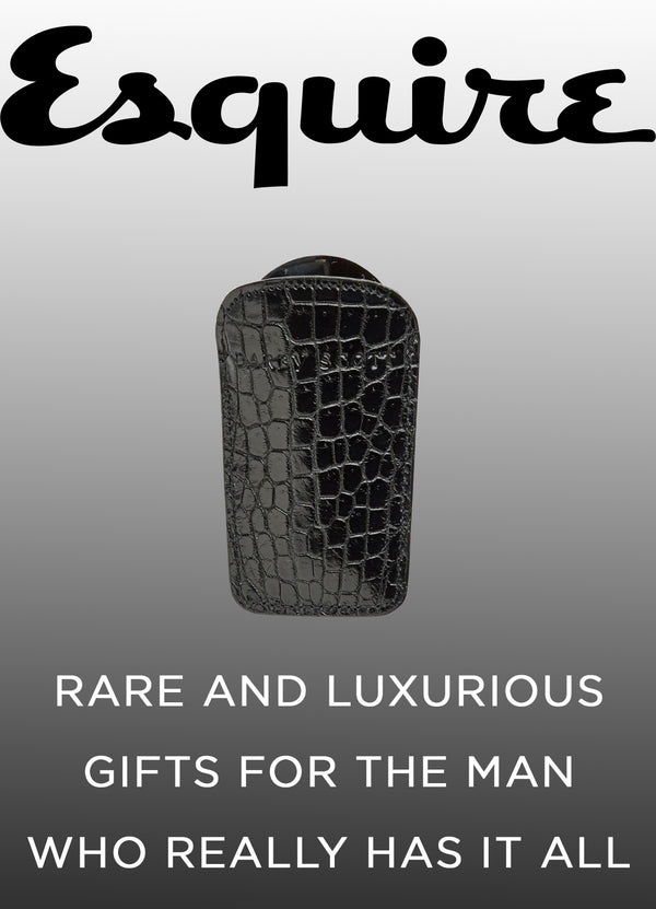 "Esquire.com - Oct 2017 Esquire advertisement of Darby Scott Shoe horn with quote ""rare and luxurious gifts for the man who really has it all"""