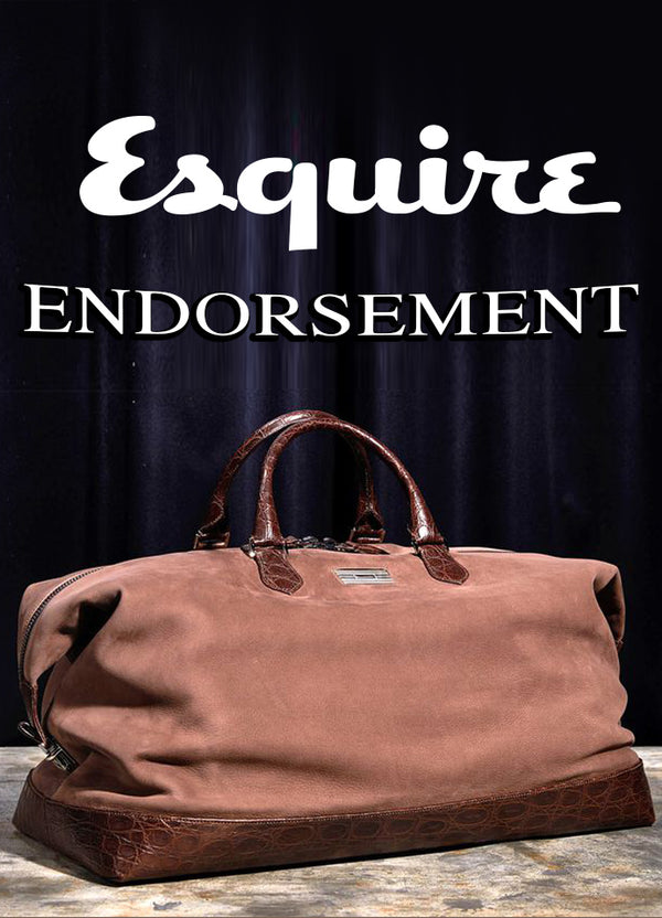 Darby Scott men's cocoa colored duffle bag with Croc trim shown and Esquire Magazine's Endorsement and Logo