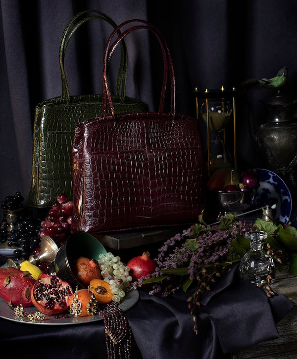 Inspired by the Masters 2 Darby Scott Crawford Crocodile Handbags & Mosaic Jewelry in Masters Style Setting