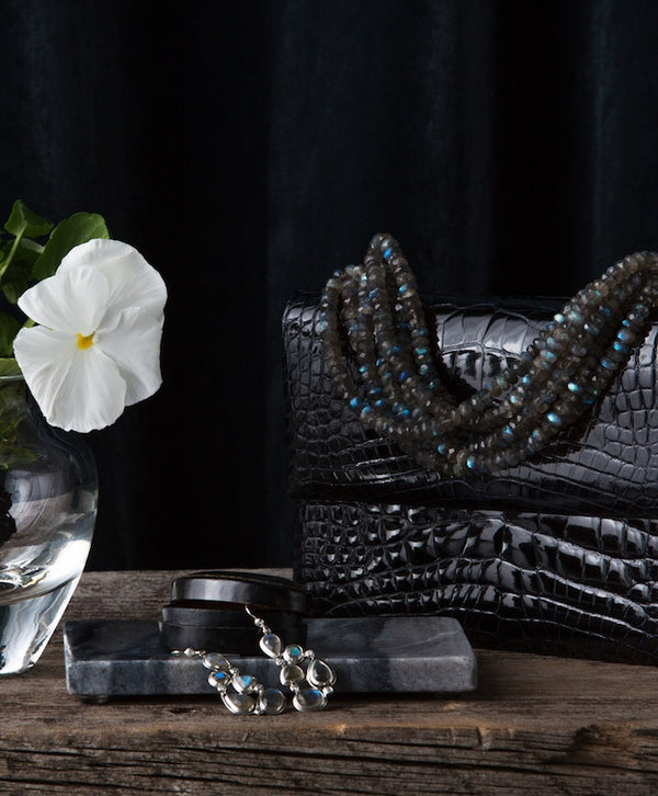 Lasting Beauty Black Crocodile necklace handbag and Labradorite Earrings - Darby Scott