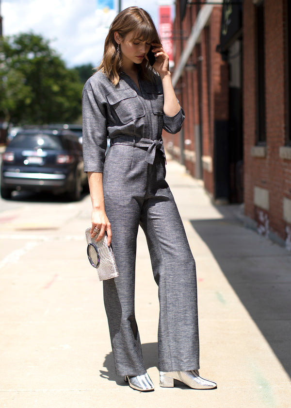 Ours & Theirs: Jumpsuits Navy Jumpsuit and Silver Convertible Clutch