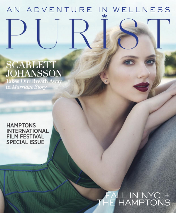 Purist Fall 2019 Scarlett Johansson leaning on rock