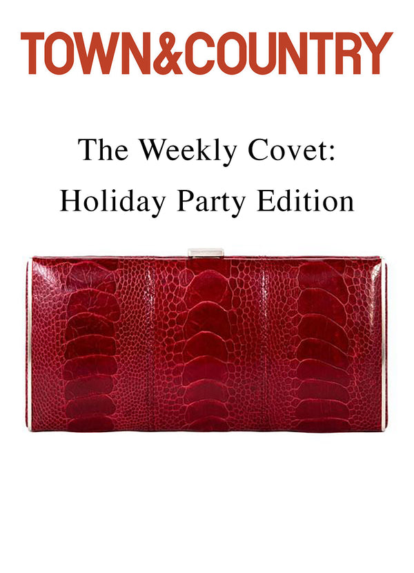 picture of Darby Scott red wallet under Town and Country logo as featured in Holiday Gift guide on town&country.com website