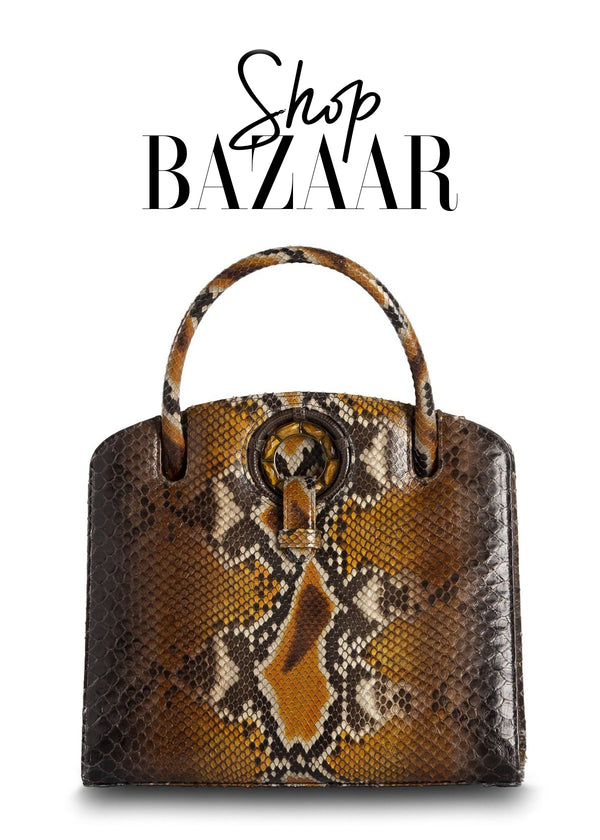Shop Bazaar- November 2018 Darby Scott Annette Top handle bag in Cognac Python