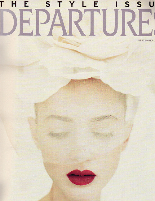 Departures - Style Issue Model in veiled hat on cover of Departure Magazine