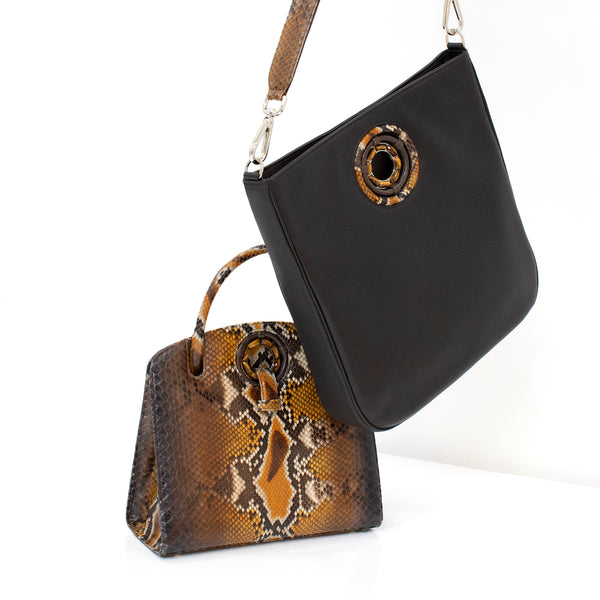 2 Darby Scott handbags, an Annette Top handle bag in python with pebble leather Cloe cross body bag