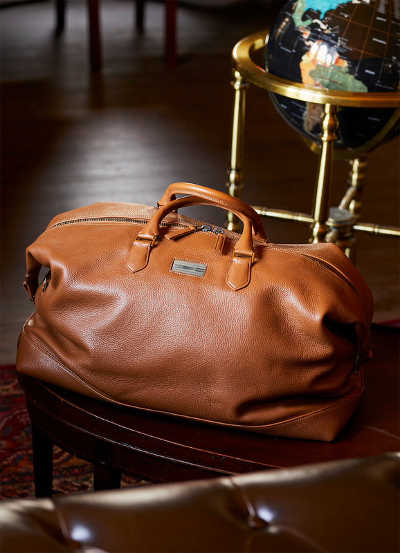 Leather duffle bag by Darby Scott