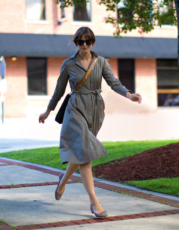 Model Wearing TAUPE COOL WOOL SHIRT DRESS with Cloe Cross Body - Darby Scott