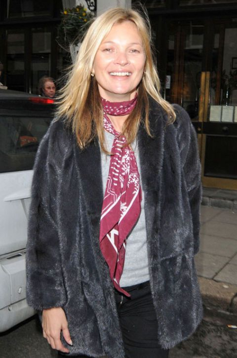Kate Moss in a silk scarf