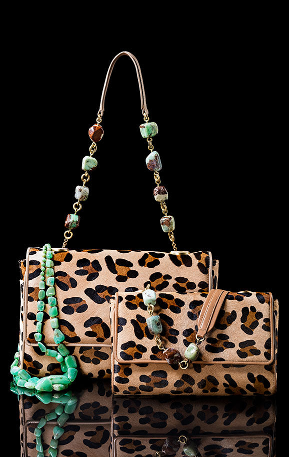 Darby Scott leopard print chain & jewel handbags