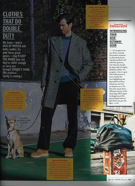 Esquire endorsement of Darby Scott Aspen Travel Bag