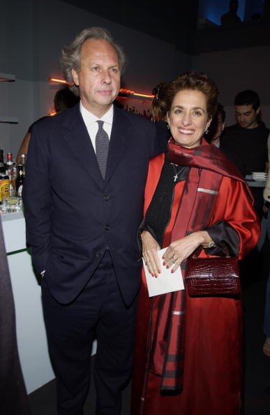 Rose Marie Bravo carrying Darby Scott handbag, photographed with Graydon Carter