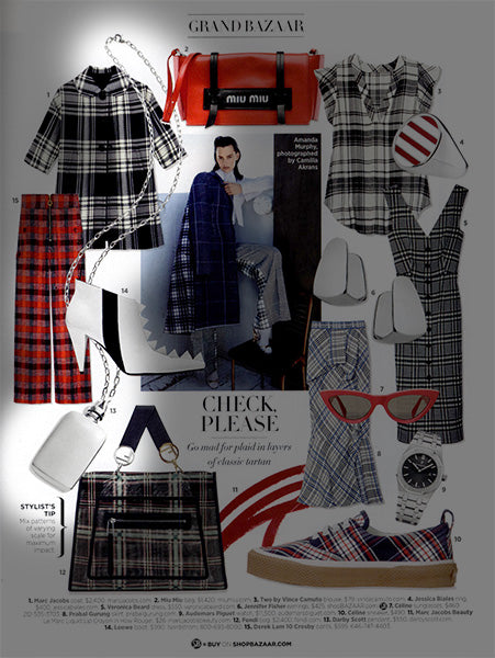 A collage image of handbags, pants and dresses and jewelry many in checked pattern of black and white with red. Sterling silver jewelry accents are shown -Darby Scott's Silver rectangular shaped perfume pendant is featured amongst these items