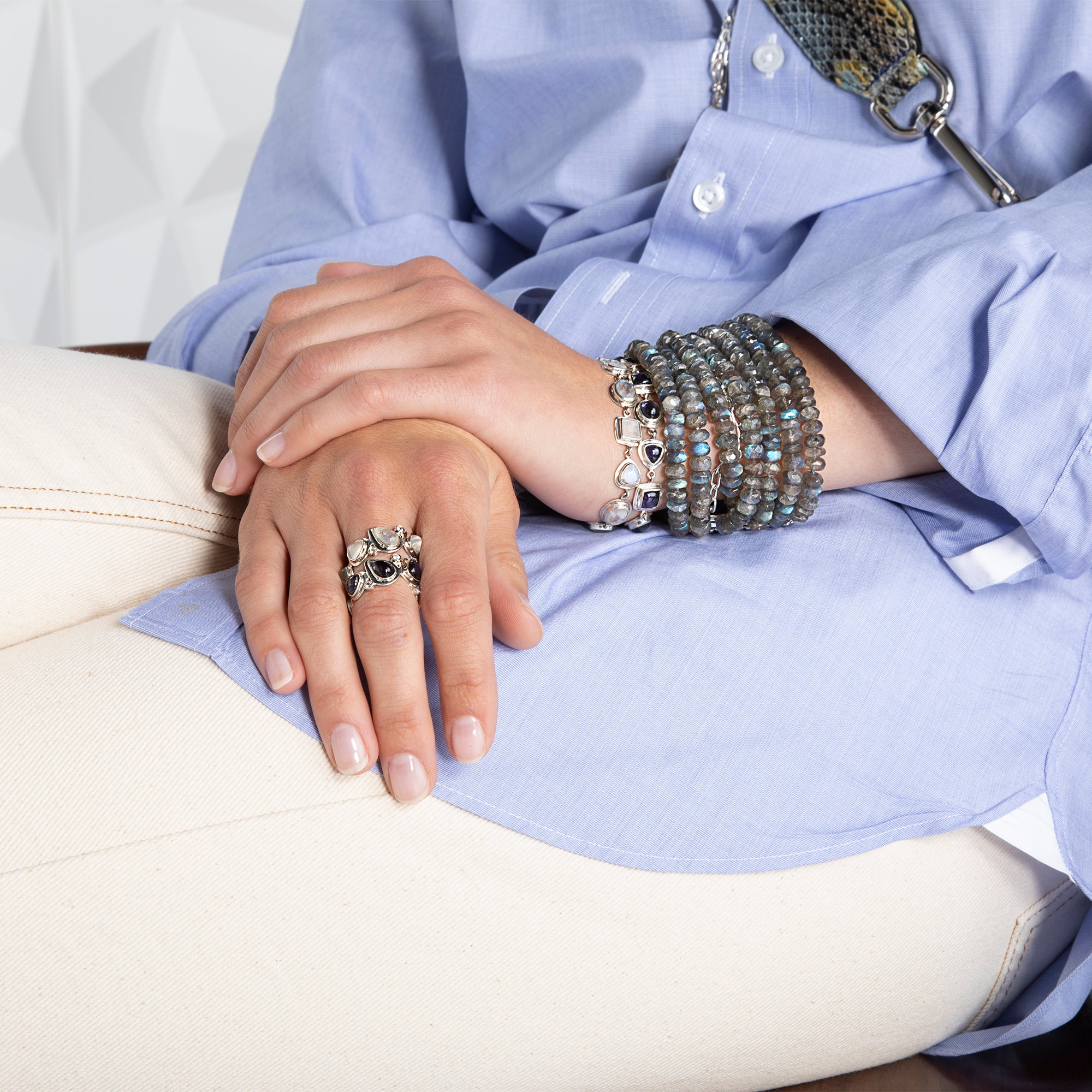 Darby Scott mosaic rings and bracelets