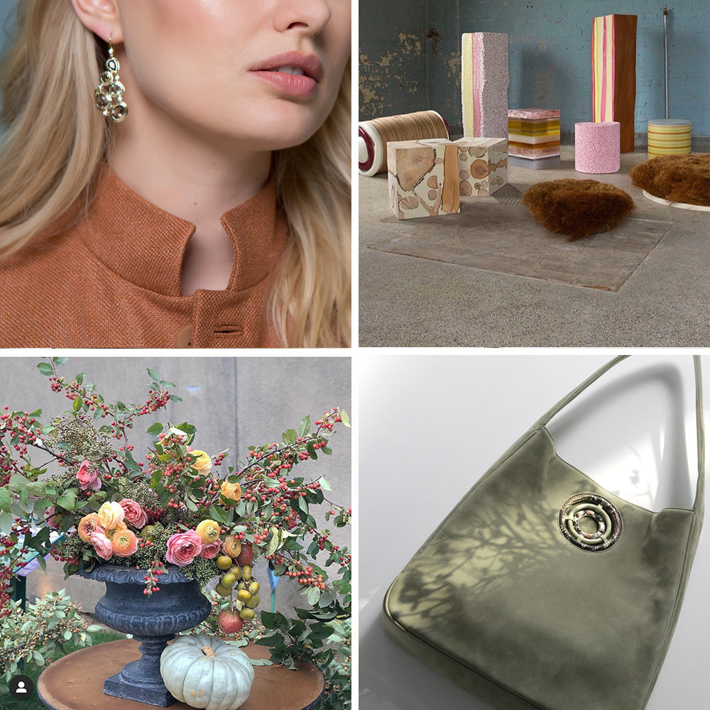 Collage of Flowers, Jewelry, Architecture in Pastel Colors
