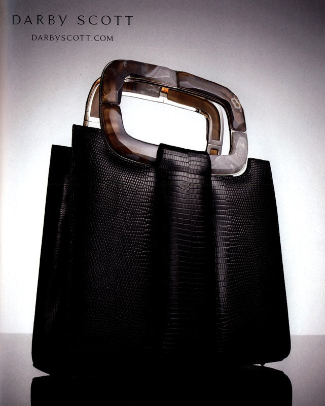 Black Lizard Heritage Tote with Agate Handle by Darby Scott