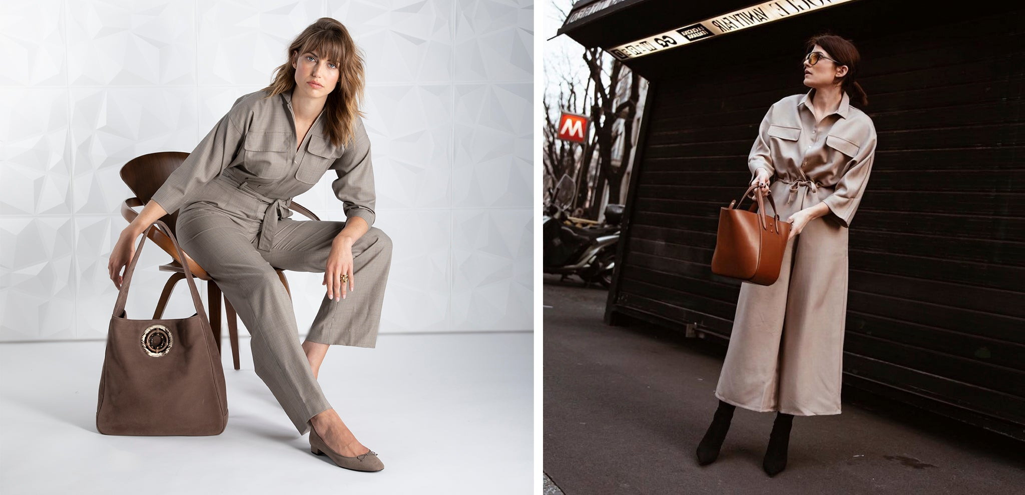 Darby Scott tan jumpsuit and hobo bag