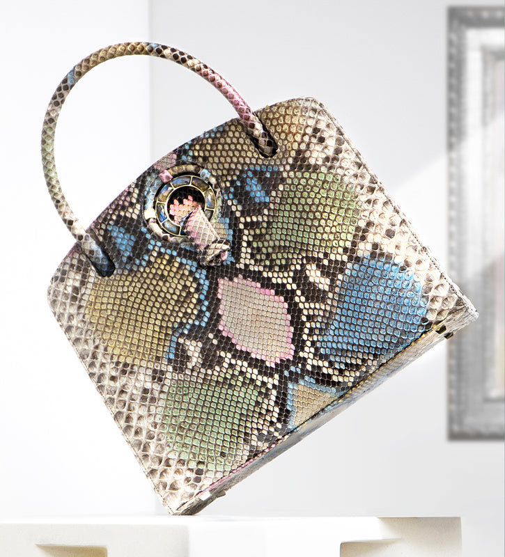 A Darby Scott Annette Top Handle Tote in pastel python