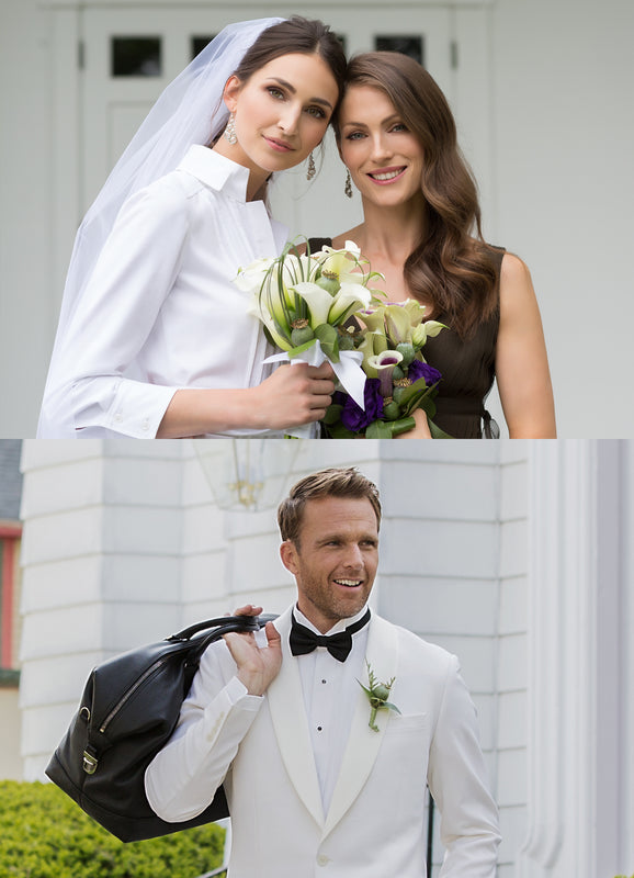 Model with Aspen Duffle Bag. Bride & Bridesmaid wearing Mosaic earrings by Darby Scott
