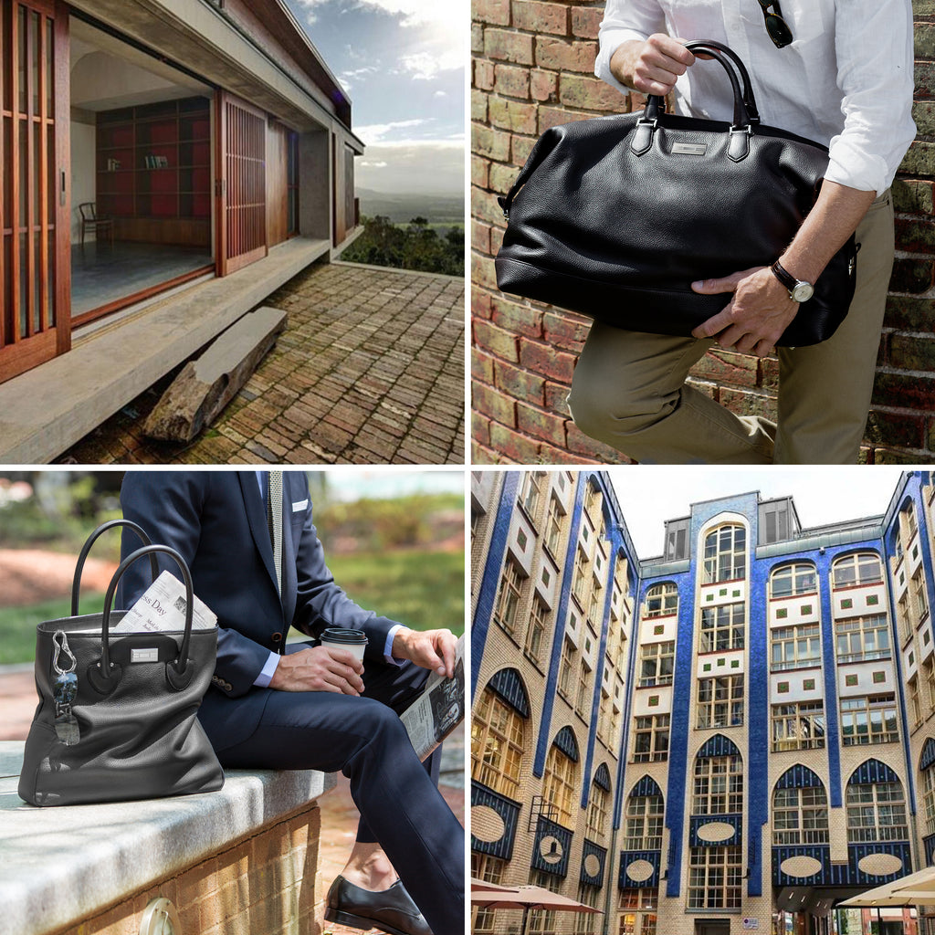 Collage of architecture images and male models holding Darby Scott Bags