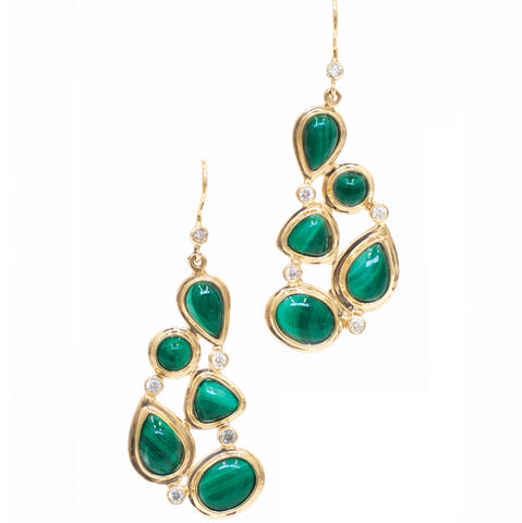 Darby Scott Mosaic earrings with malachite and diamonds set in 18K gold