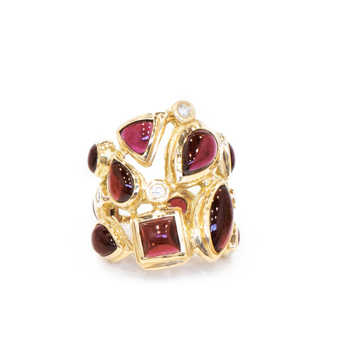 Darby Scott Mosaic Cocktail ring with Garnets and Diamonds set in 18K gold
