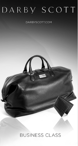 Picture features a Darby Scott Aspen Travel Duffle bag and Wallet