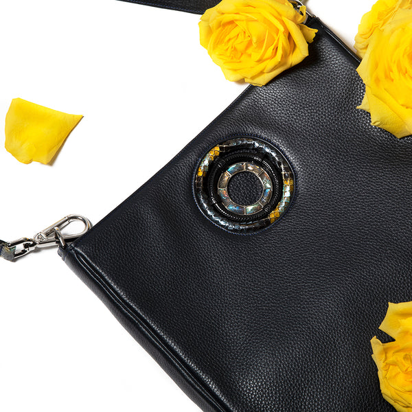 Navy Leather Cloe Cross Body Tote with Yellow Roses