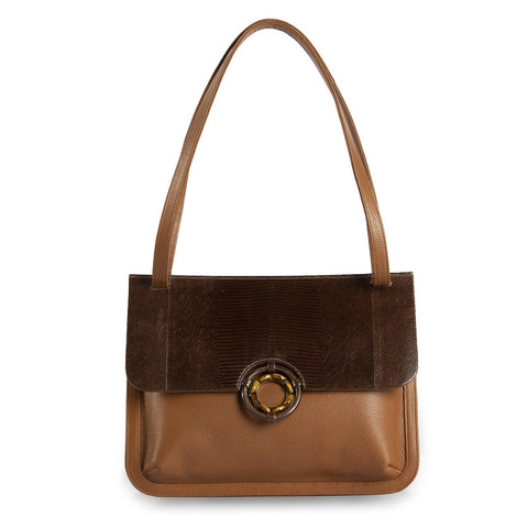 Darby Scott Saddle bag in cognac pebble leather