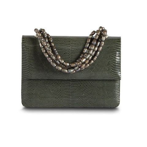 Darby Scott iconic necklace bag in soft green Lizard