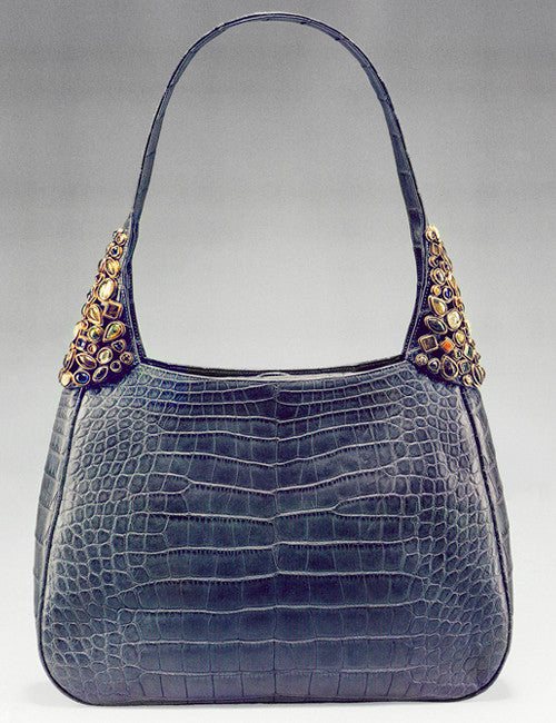 Denim Blue Alligator Hobo Tote with Mosaic of Cabochons