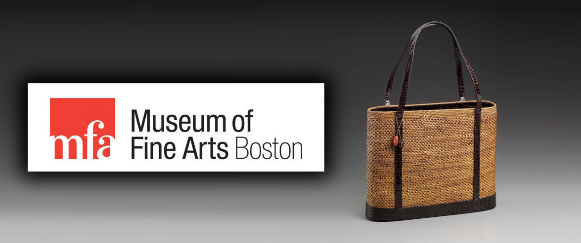 Logo Museum of Fine Arts Boston beside Darby Scott woven rattan balinese tote trimmed in chocolate alligator.
