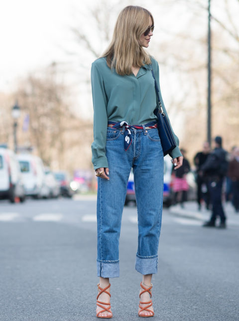 Fashion influencer wearing a silk scarf as a belt