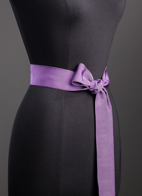 Amethyst Silk Grosgrain Ribbon Belt, Wide - Darby Scott--alternate