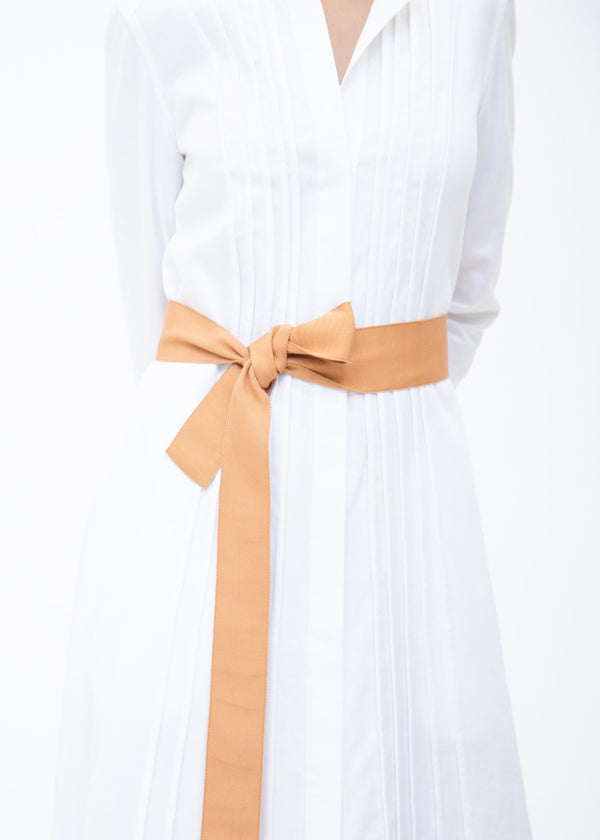 Wide Grosgrain Ribbon Belt in Apricot on Model - Darby Scott