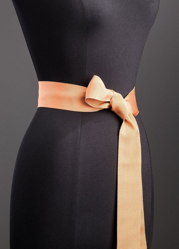 Apricot Silk Grosgrain Ribbon Belt, Wide - Darby Scott--alternate