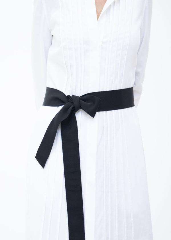 Wide Grosgrain Ribbon Belt in Black on Model - Darby Scott