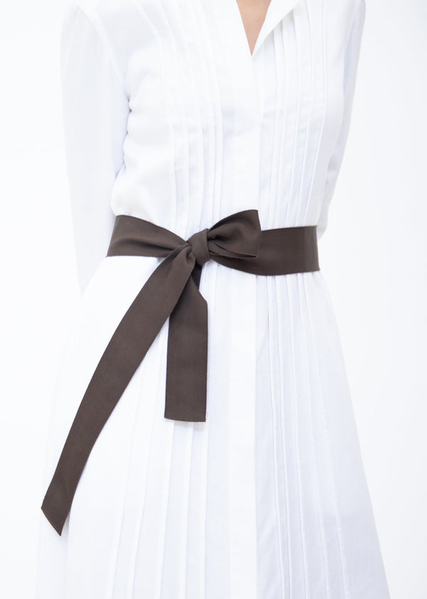 Wide Grosgrain Ribbon Belt in Chocolate on Model - Darby Scott