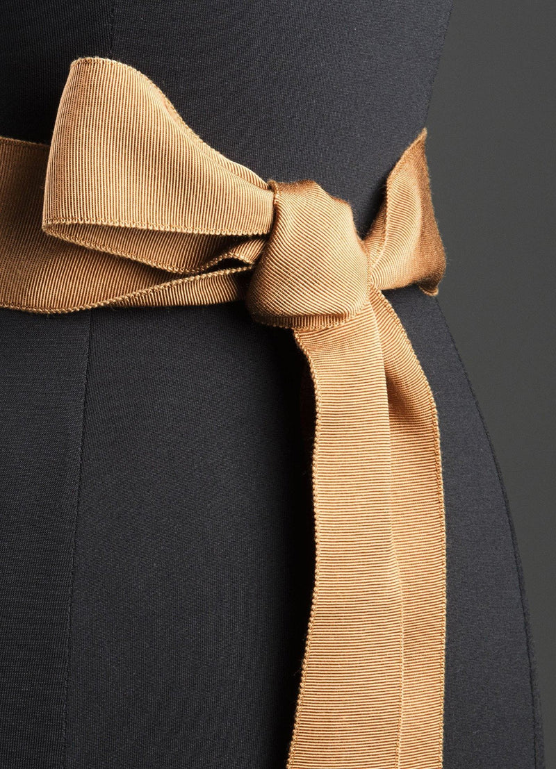 Close up of Terracotta Silk Grosgrain Ribbon Belt, Wide - Darby Scott