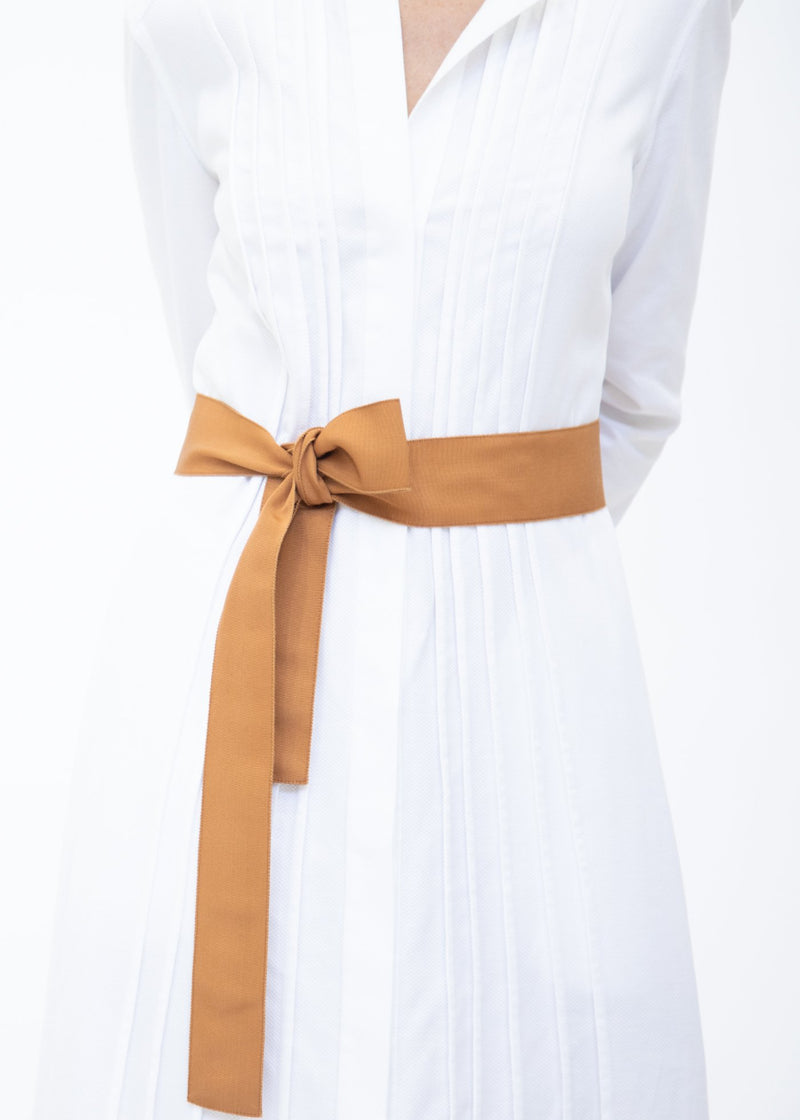 Wide Grosgrain Ribbon Belt in Dark Terracotta on Model - Darby Scott