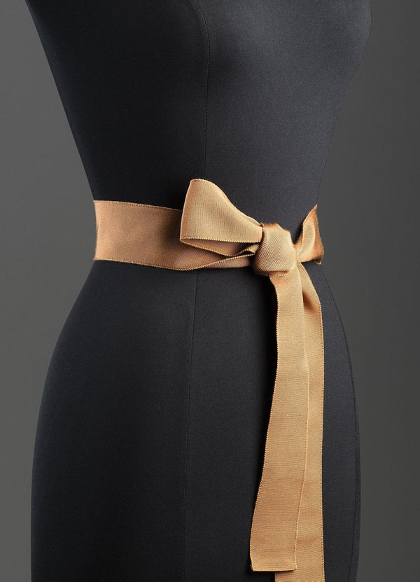Terracotta Silk Grosgrain Ribbon Belt, Wide - Darby Scott--alternate